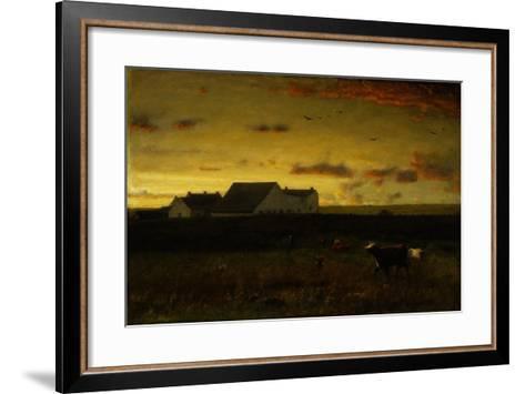 Farm Landscape, Cattle in Pasture, Sunset, Nantucket, C.1883-George Snr^ Inness-Framed Art Print