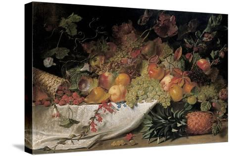 Fruit and Flowers on a Stone Ledge, 1829-George Lance-Stretched Canvas Print