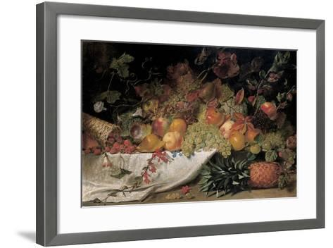 Fruit and Flowers on a Stone Ledge, 1829-George Lance-Framed Art Print