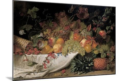 Fruit and Flowers on a Stone Ledge, 1829-George Lance-Mounted Giclee Print