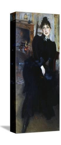 Alaide Banti at the Fireplace-Giovanni Boldini-Stretched Canvas Print