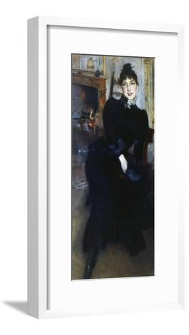 Alaide Banti at the Fireplace-Giovanni Boldini-Framed Art Print