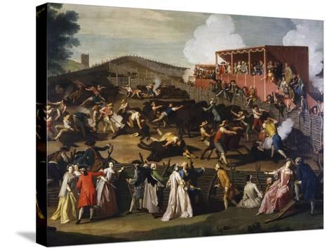 Buffalo Market in Maccarese, Ca 1755-Giuseppe Bottani-Stretched Canvas Print