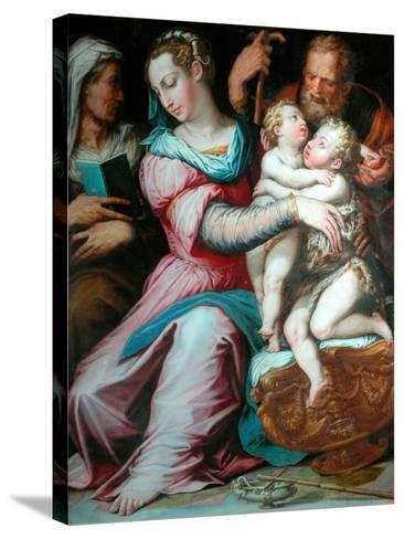 Holy Family with St John-Giorgio Vasari-Stretched Canvas Print