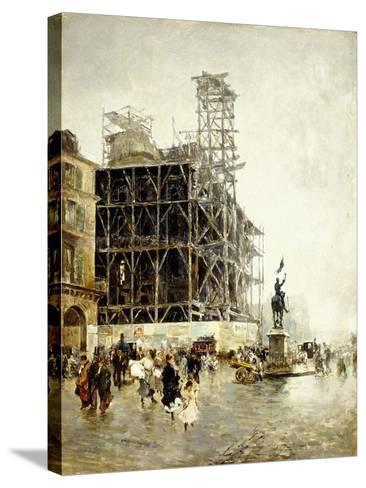 Place De Pyramides-Giuseppe Nittis-Stretched Canvas Print