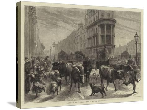London Sketches, the Cattle Nuisance-Godefroy Durand-Stretched Canvas Print