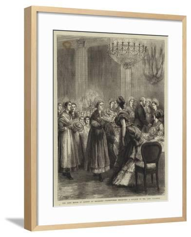 The Lord Mayor of London at Boulogne, Fisherwomen Presenting a Bouquet to the Lady Mayoress-Godefroy Durand-Framed Art Print