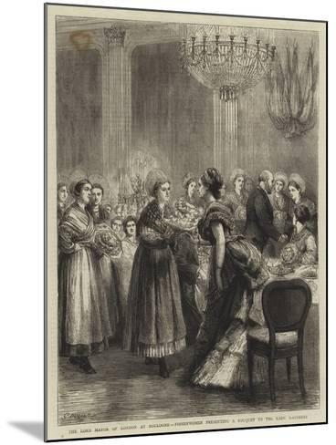 The Lord Mayor of London at Boulogne, Fisherwomen Presenting a Bouquet to the Lady Mayoress-Godefroy Durand-Mounted Giclee Print