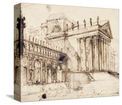 The Portico and Facade of an Elaborate Neo-Classical Building (Pen and Brown Ink)-Giovanni Battista Piranesi-Stretched Canvas Print