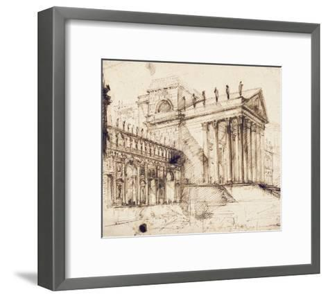 The Portico and Facade of an Elaborate Neo-Classical Building (Pen and Brown Ink)-Giovanni Battista Piranesi-Framed Art Print