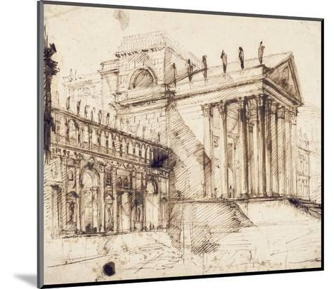 The Portico and Facade of an Elaborate Neo-Classical Building (Pen and Brown Ink)-Giovanni Battista Piranesi-Mounted Giclee Print
