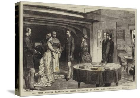 The First English Marriage in Cyprus, Celebrated on Board HMS Monarch at Larnaka-Godefroy Durand-Stretched Canvas Print