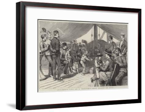 Children's Life on a Troopship, Rope Quoits on Deck-Godefroy Durand-Framed Art Print