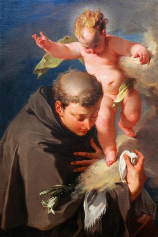 The Vision of Saint Anthony of Padua C.1730-Giovanni Battista Pittoni-Stretched Canvas Print