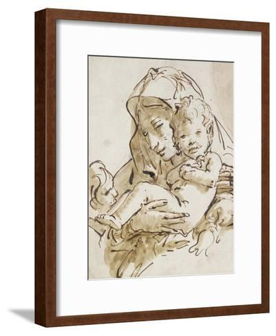 The Virgin and Child with the Infant St John (Pen and Brown Ink with Brown Wash over Black Chalk on-Giovanni Battista Tiepolo-Framed Art Print