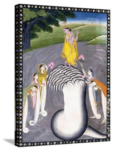 Krishna Quelling the Hydra-Headed Snake, C.1790 (W/C on a Flecked Pink Page)-Giulio Carlini-Stretched Canvas Print