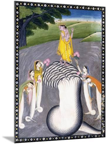 Krishna Quelling the Hydra-Headed Snake, C.1790 (W/C on a Flecked Pink Page)-Giulio Carlini-Mounted Giclee Print