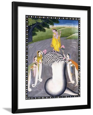 Krishna Quelling the Hydra-Headed Snake, C.1790 (W/C on a Flecked Pink Page)-Giulio Carlini-Framed Art Print