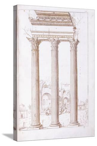The Columns of the Temple of Castor and Pollux-Giulio Romano-Stretched Canvas Print