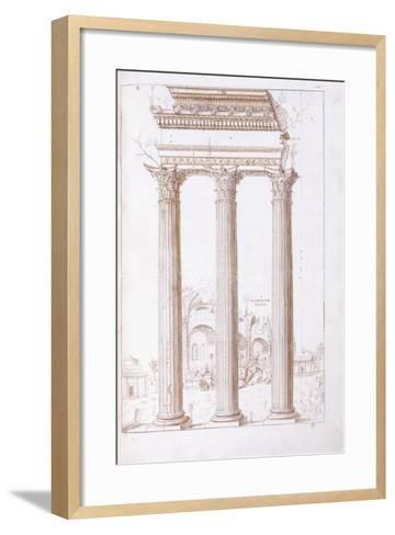 The Columns of the Temple of Castor and Pollux-Giulio Romano-Framed Art Print