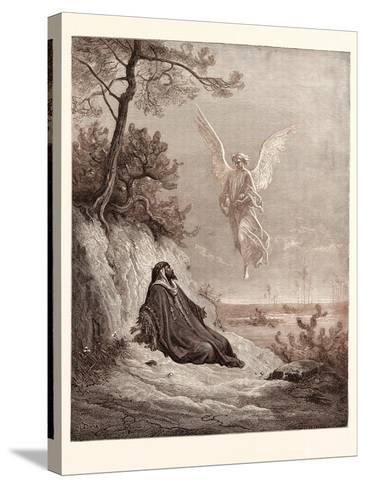 Elijah Nourished by an Angel-Gustave Dore-Stretched Canvas Print