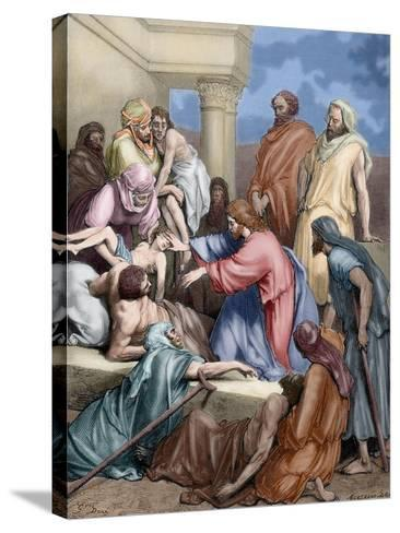 Jesus Healing the Sick-Gustave Dore-Stretched Canvas Print