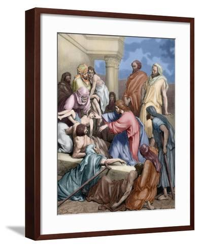 Jesus Healing the Sick-Gustave Dore-Framed Art Print