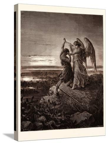Jacob Wrestling with the Angel-Gustave Dore-Stretched Canvas Print