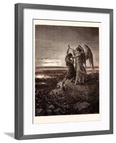 Jacob Wrestling with the Angel-Gustave Dore-Framed Art Print