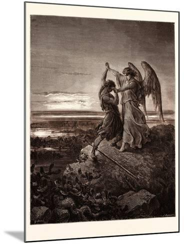 Jacob Wrestling with the Angel-Gustave Dore-Mounted Giclee Print
