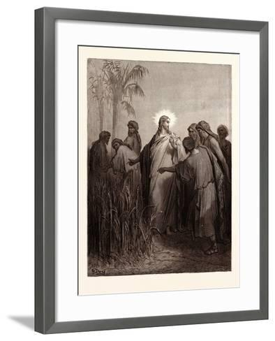 Jesus and His Disciples in the Corn Field-Gustave Dore-Framed Art Print