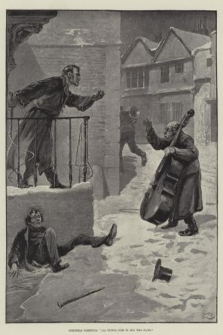 Christmas Greetings, All Things Come to Him Who Waits-Gordon Frederick Browne-Stretched Canvas Print