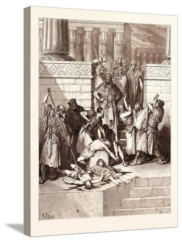 The Slaughter of the Sons of Zedekiah-Gustave Dore-Stretched Canvas Print