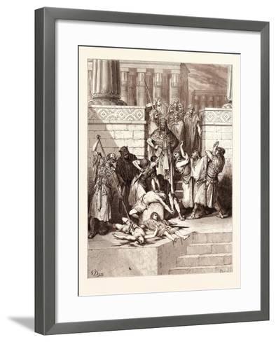 The Slaughter of the Sons of Zedekiah-Gustave Dore-Framed Art Print