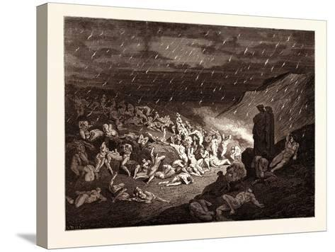 The Torture of the Fiery Rain-Gustave Dore-Stretched Canvas Print