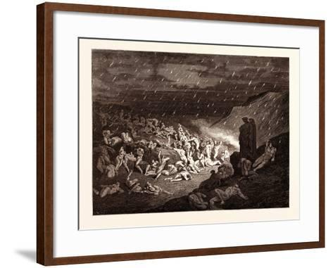 The Torture of the Fiery Rain-Gustave Dore-Framed Art Print