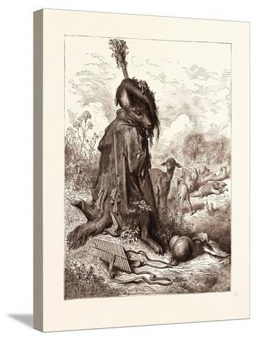 The Wolf Turned Shepherd-Gustave Dore-Stretched Canvas Print
