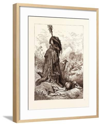 The Wolf Turned Shepherd-Gustave Dore-Framed Art Print