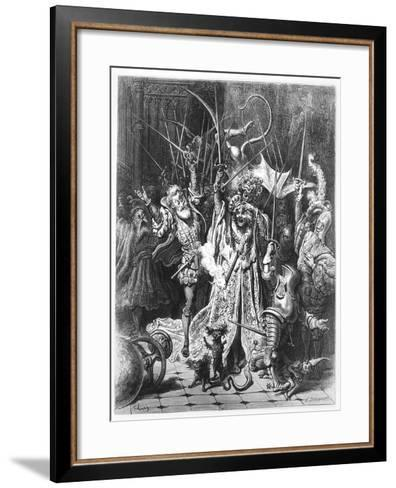 The Pinochle Player from 'Gargantua and Pantagruel', by François Rabelais-Gustave Dore-Framed Art Print