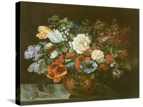 Bouquet of Flowers, 1863-Gustave Courbet-Stretched Canvas Print