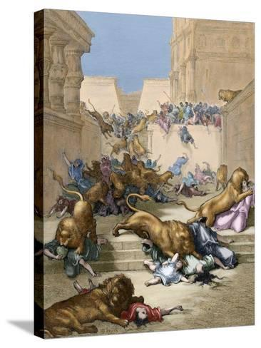 Old Testament. People Devoured by Lions in Samaria-Gustave Dore-Stretched Canvas Print