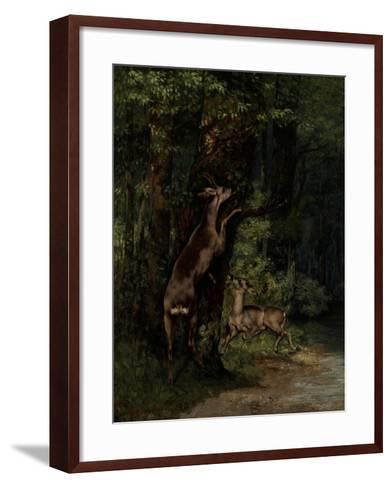 Deer in the Forest, 1868-Gustave Courbet-Framed Art Print