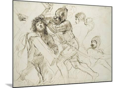 Christ Carrying the Cross, C.1625 - 1628 (Pen and Brown Ink on White Paper)-Guercino-Mounted Giclee Print