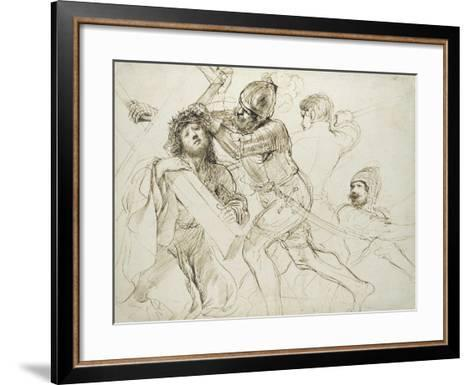 Christ Carrying the Cross, C.1625 - 1628 (Pen and Brown Ink on White Paper)-Guercino-Framed Art Print