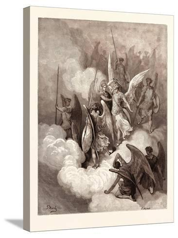 Abdiel and Satan-Gustave Dore-Stretched Canvas Print