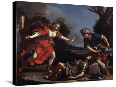 Erminia Finding the Wounded Tancredi-Guercino-Stretched Canvas Print