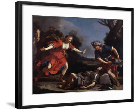 Erminia Finding the Wounded Tancredi-Guercino-Framed Art Print
