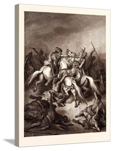 Abishai Saving the Life of David-Gustave Dore-Stretched Canvas Print
