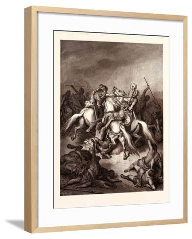 Abishai Saving the Life of David-Gustave Dore-Framed Art Print