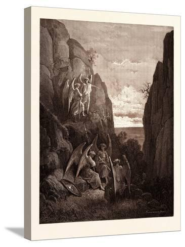 Ariel's Charge to Gabriel-Gustave Dore-Stretched Canvas Print